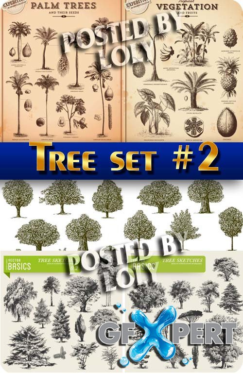 Tree set #2 - Stock Vector