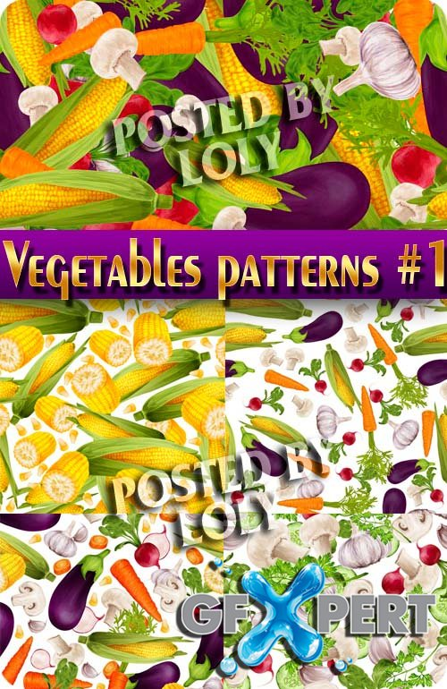 Vegetables. Patterns #1 - Stock Vector