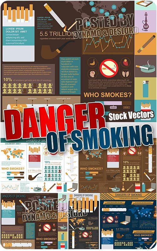 Dangers of smoking infographics - Stock Vectors