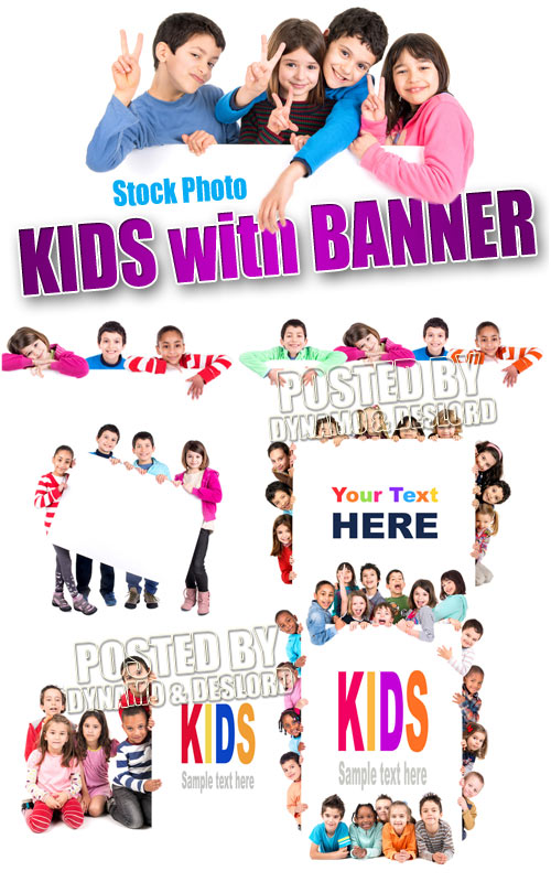 Kids with banner - UHQ Stock Photo