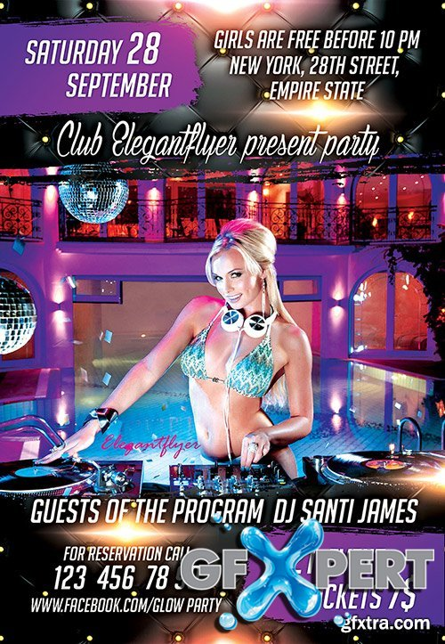 Guest Dj Santi James Flyer PSD Template + Facebook Cover