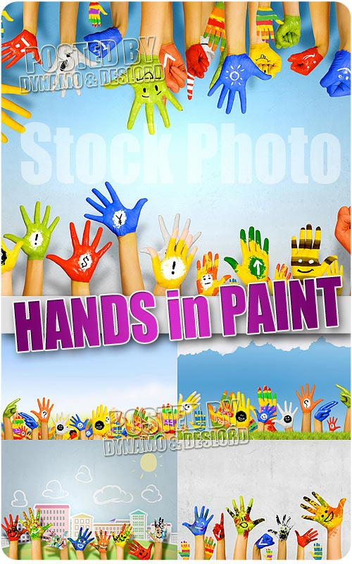 Hands in paint - UHQ Stock Photo