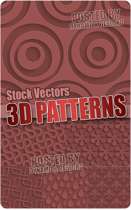 Color 3D seamless patterns - Stock Vectors