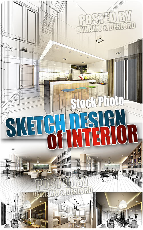 Abstract sketch design of interior - UHQ Stock Photo