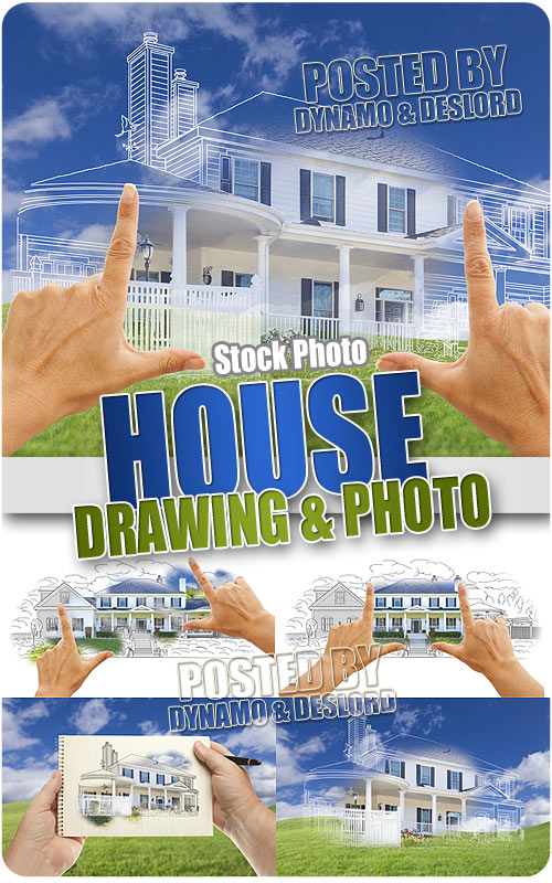 House Drawing and Photo - UHQ Stock Photo