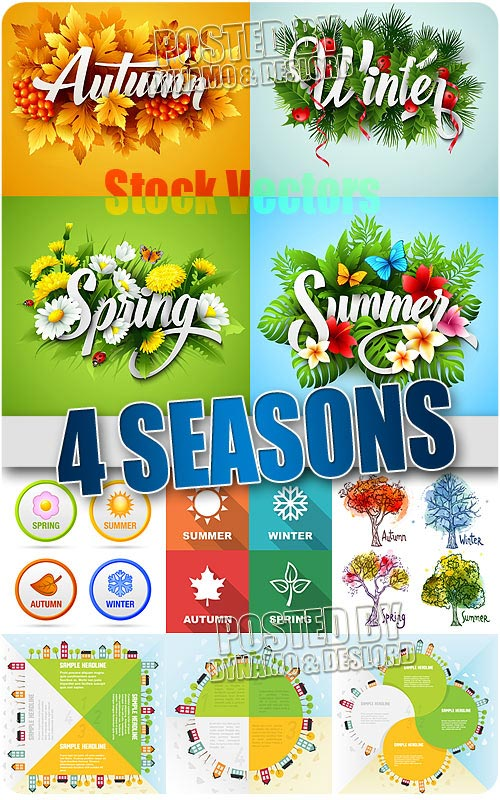 4 seasons - Stock Vectors