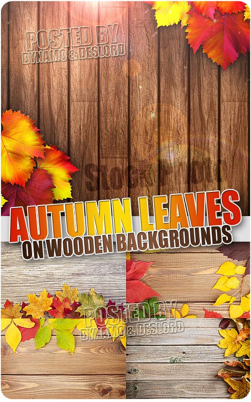 Autumn leaves over wood background - UHQ Stock Photo