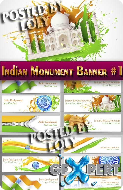Indian Monument Banner #1 - Stock Vector