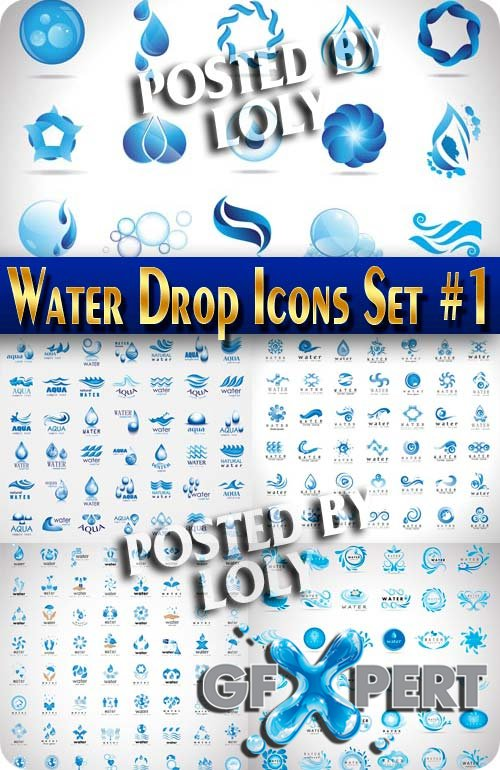 Water Drop. Icons Set #1 - Stock Vector