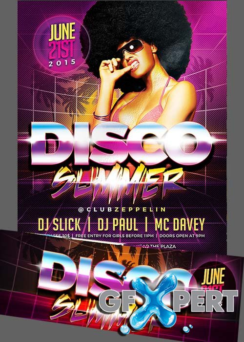 Free Disco Summer Flyer Template + Facebook Cover download