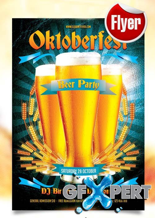 Oktoberfest Beer Party Flyer Template + Facebook Cover
