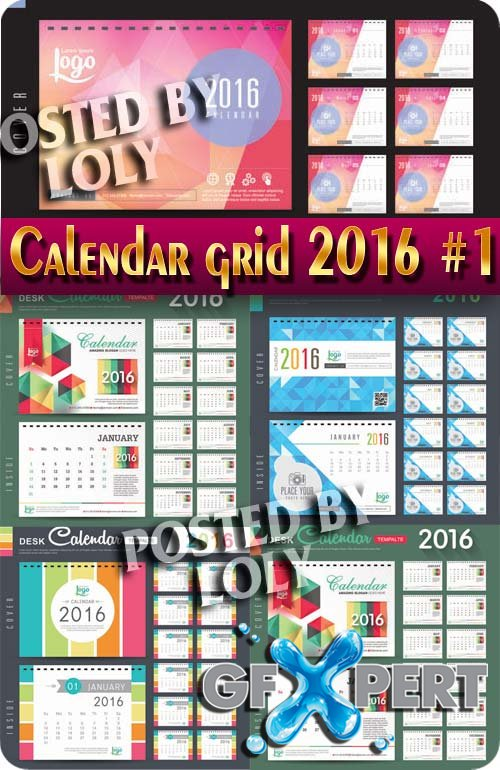 Calendar grid 2016 # 1 - Stock Vector