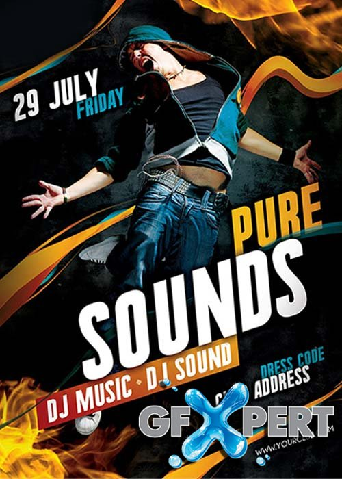 Pure Sounds Flyer Template + Facebook Cover