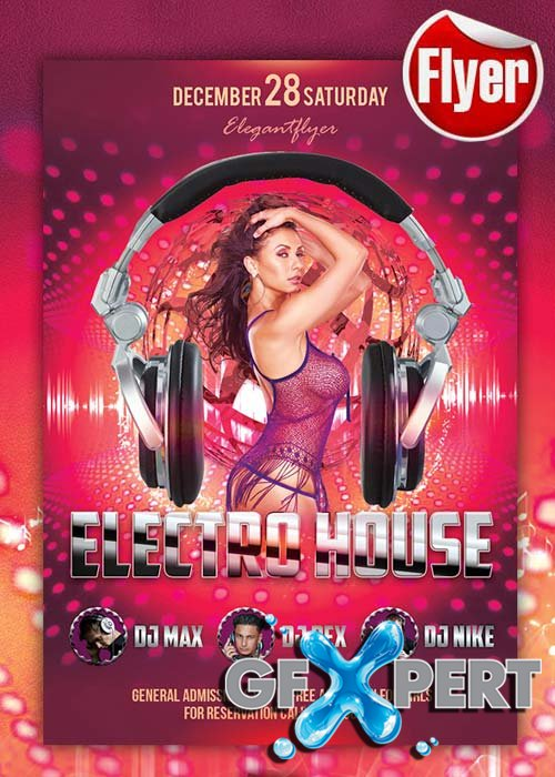 Electro House - Free Club and Party Flyer PSD Template