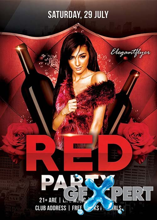 Red Party - Free Flyer PSD Template + Facebook Cover