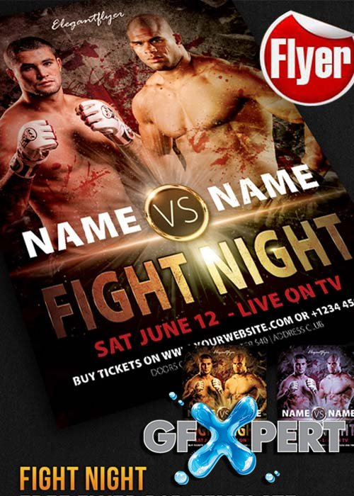 Fight Night Flyer Template + Facebook Cover