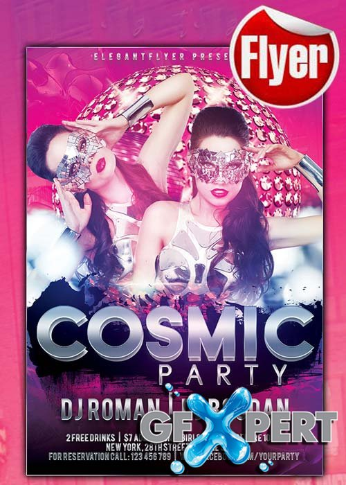 Cosmic Party Flyer Template + Facebook Cover
