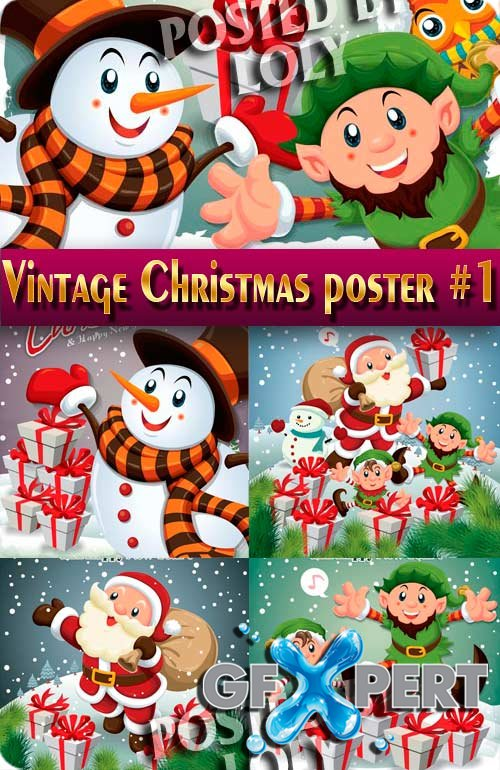 Vintage Christmas poster #1 - Stock Vector