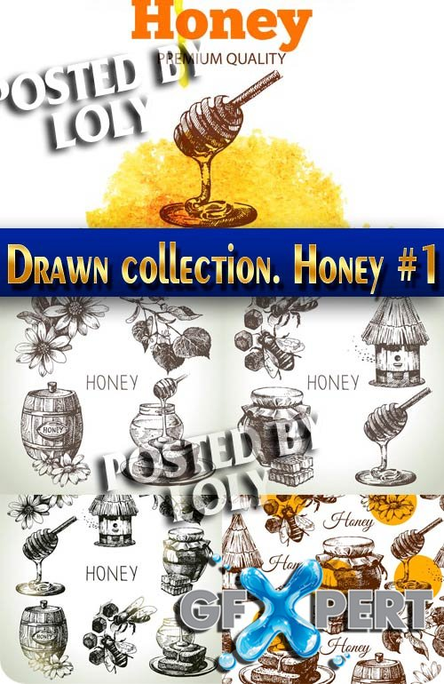 Hand drawn collection. Honey #1 - Stock Vector