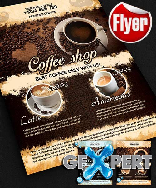 Free Coffee Shop Design V02 Flyer Template + Facebook Cover Download