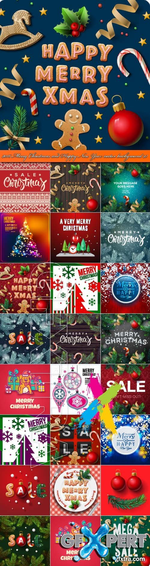2016 Merry Christmas and Happy New Year vector background 23
