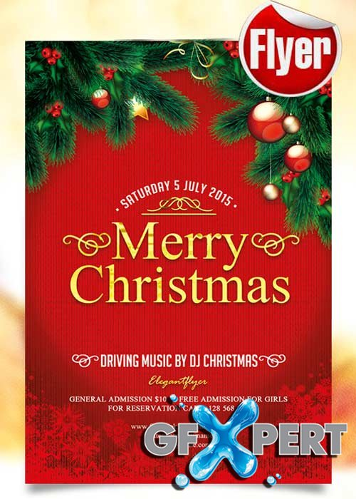 Free Merry Christmas Flyer Template + Facebook Cover download