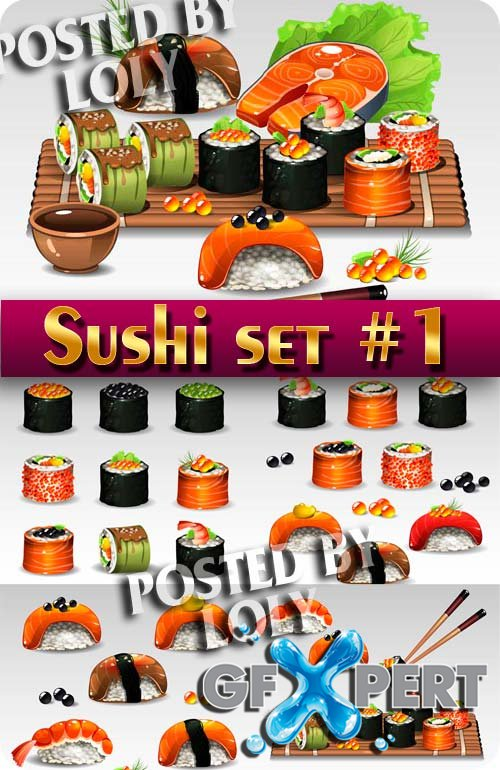 Sush set #1 - Stock Vector