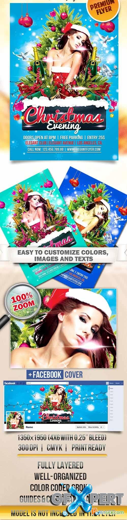 Flyer PSD Template - Christmas Evening + Facebook Cover