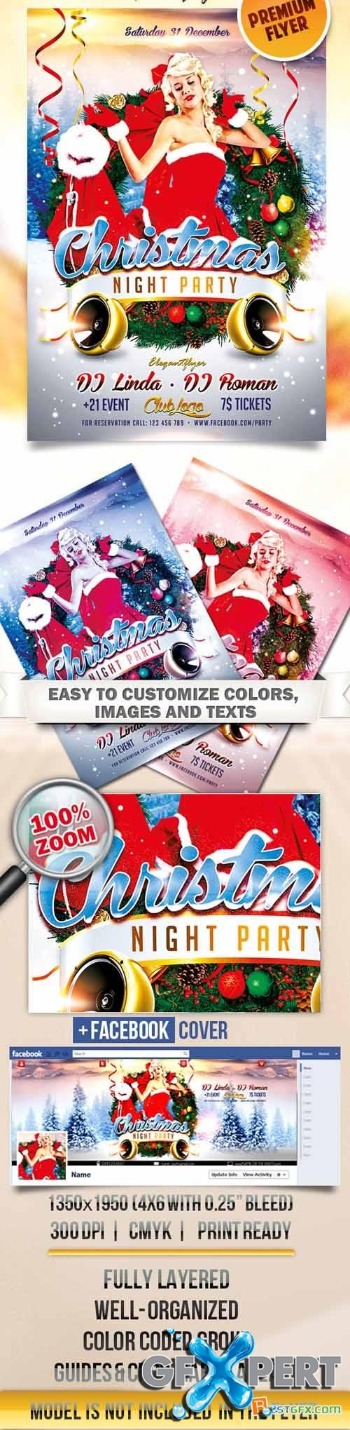 Flyer PSD Template - Christmas Night Party + Facebook Cover