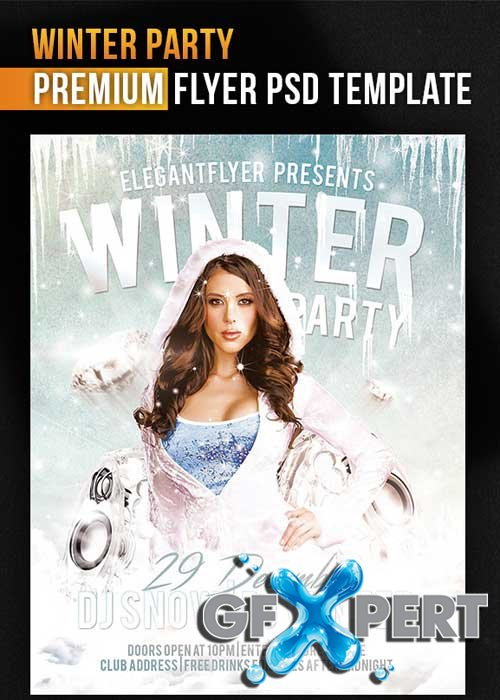 free winter party flyer template facebook cover download
