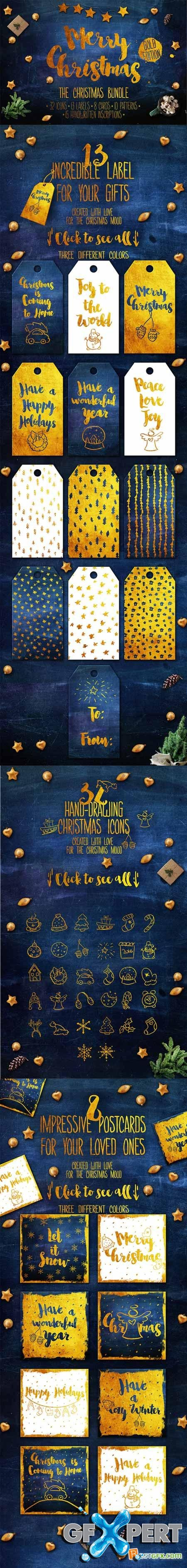 Creativemarket Christmas bundle. Gold Edition 457478