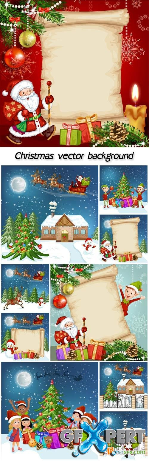 Christmas vector posters with Santa and children
