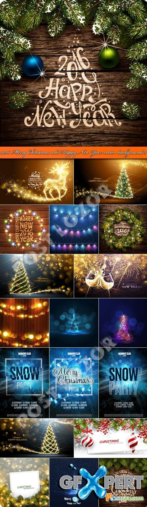 2016 Merry Christmas and Happy New Year vector background 5
