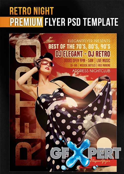 Free Retro Night Flyer Template + Facebook Cover Download