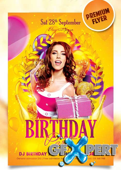 Birthday Party 8 Flyer Template + Facebook Cover