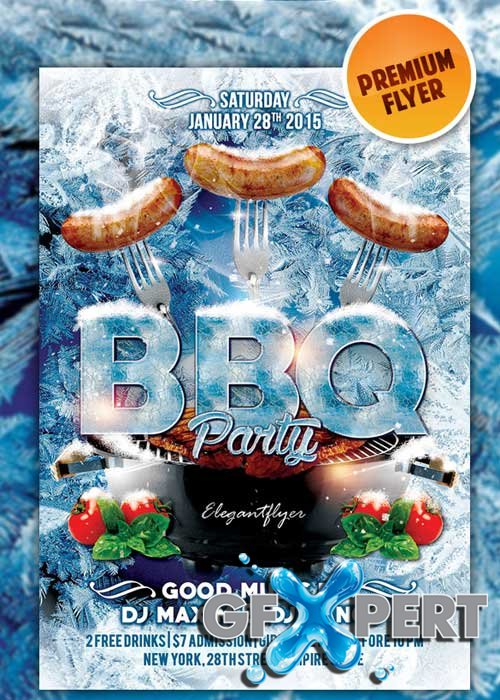 Winter BBQ Party flyer Template