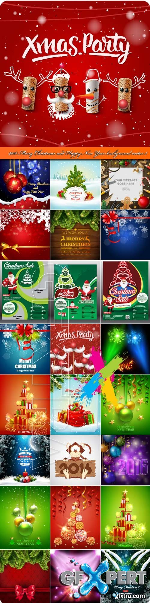 2016 Merry Christmas and Happy New Year background vector 5