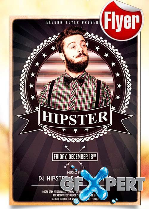 Hipsters Party Flyer PSD Template + Facebook Cover