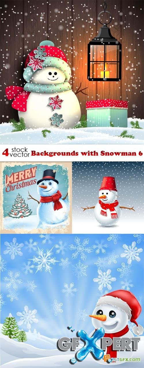 Vectors - Backgrounds with Snowman 6