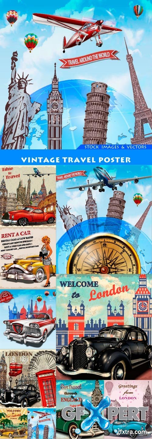 Vintage travel poster 10X EPS