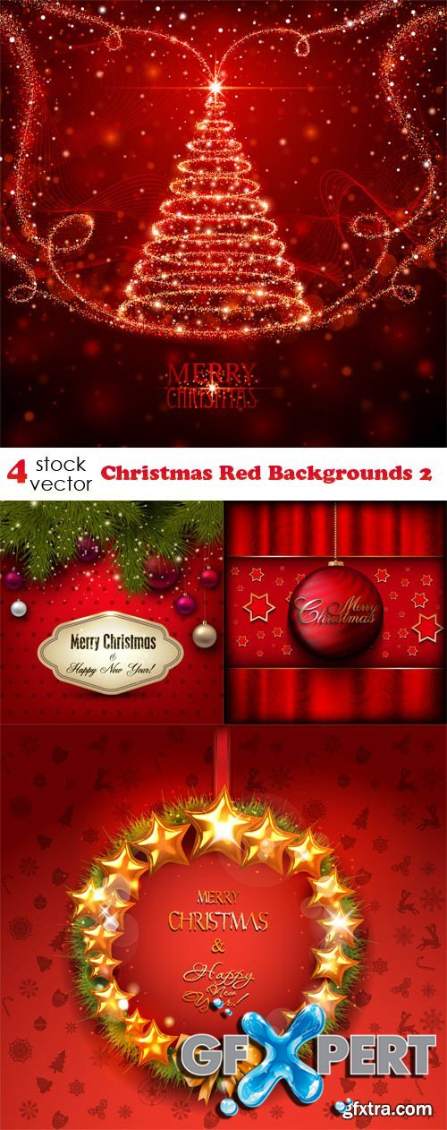 Vectors - Christmas Red Backgrounds 2