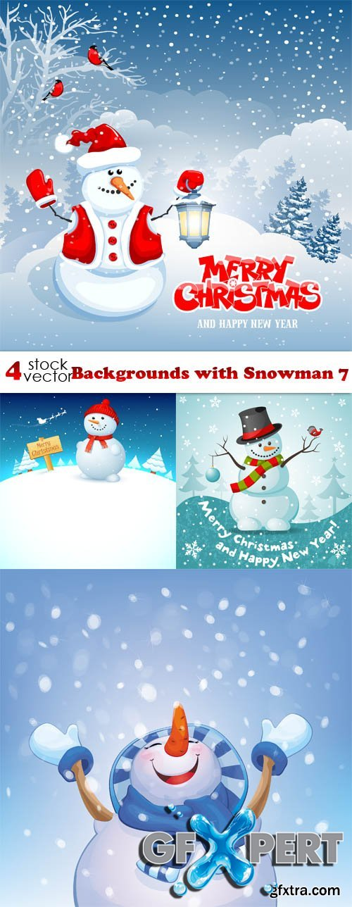 Vectors - Backgrounds with Snowman 7