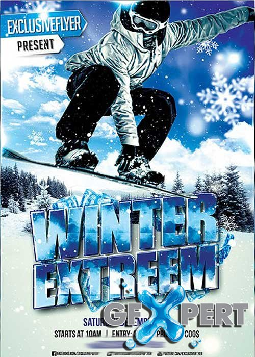 free winter extreme sport premium flyer template facebook cover download