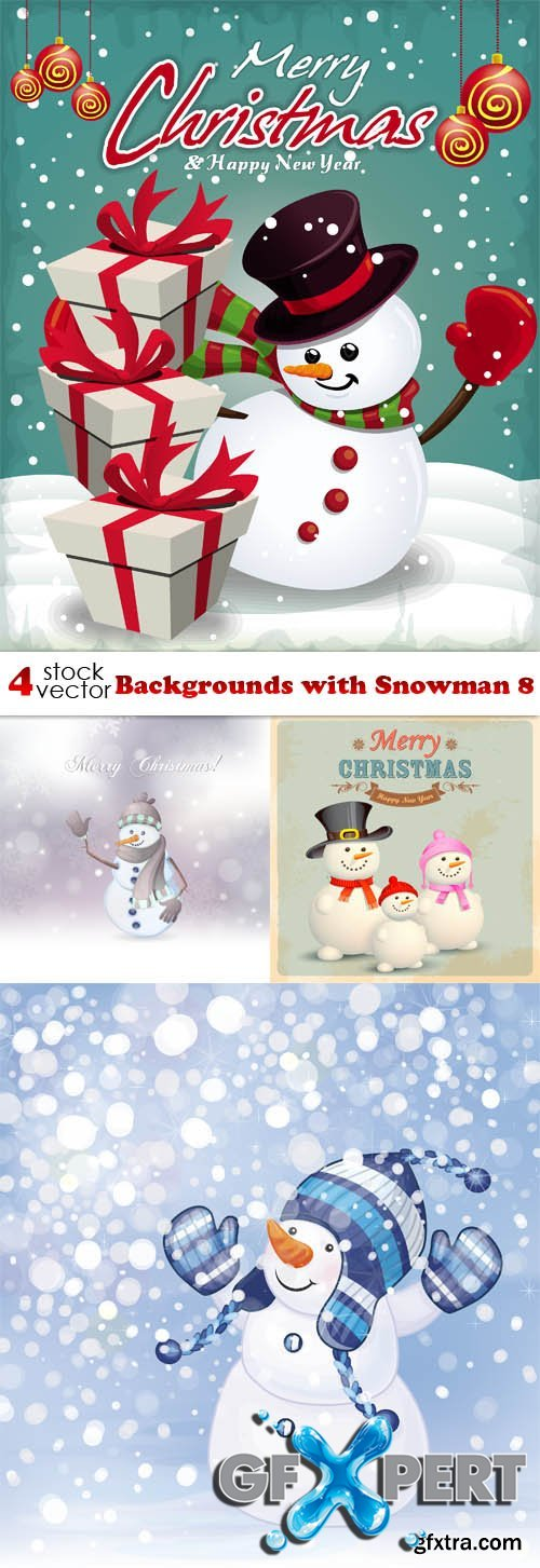 Vectors - Backgrounds with Snowman 8