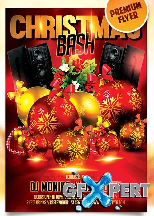 Christmas Bash Flyer PSD Template + Facebook Cover