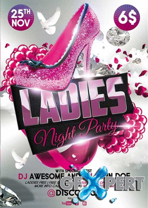 Ladies Night Premium Flyer Template + Facebook Cover