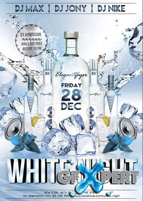White Night Premium Club flyer PSD Template