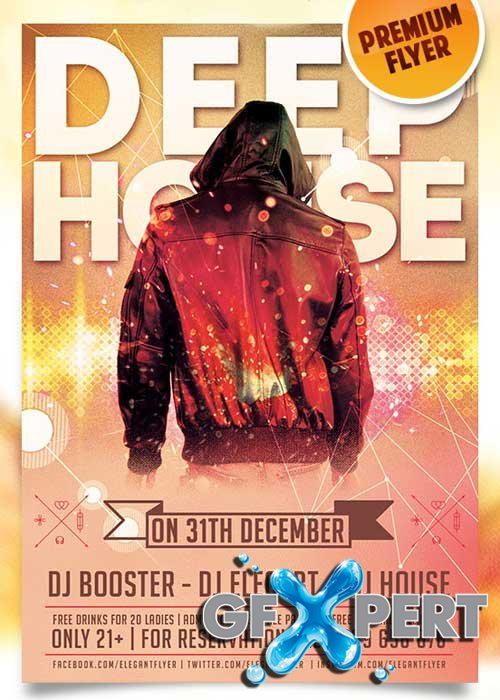 Deep House Flyer PSD Template + Facebook Cover