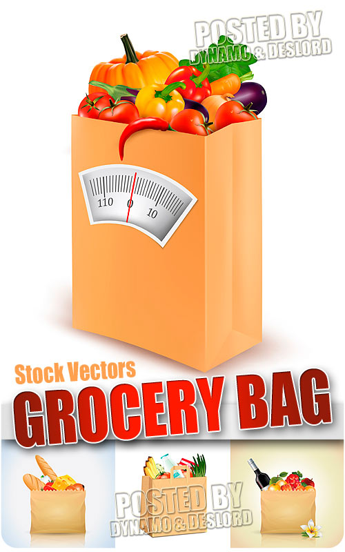 Grocery Bag with food - Stock Vectors