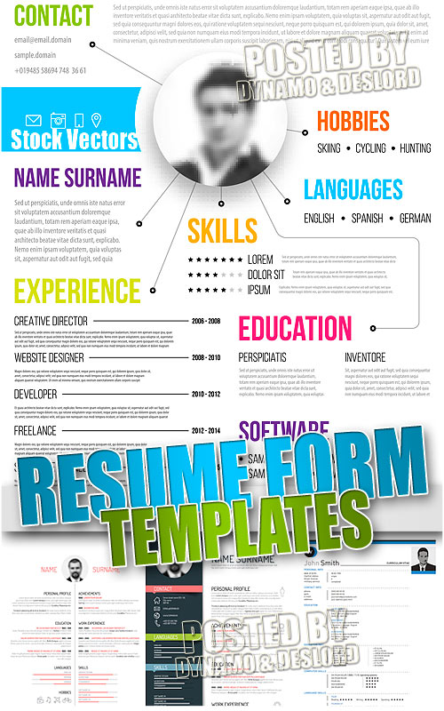Resume forms templates - Stock Vectors